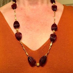 Jewelry - Vintage necklace gold chain with deep amber beads